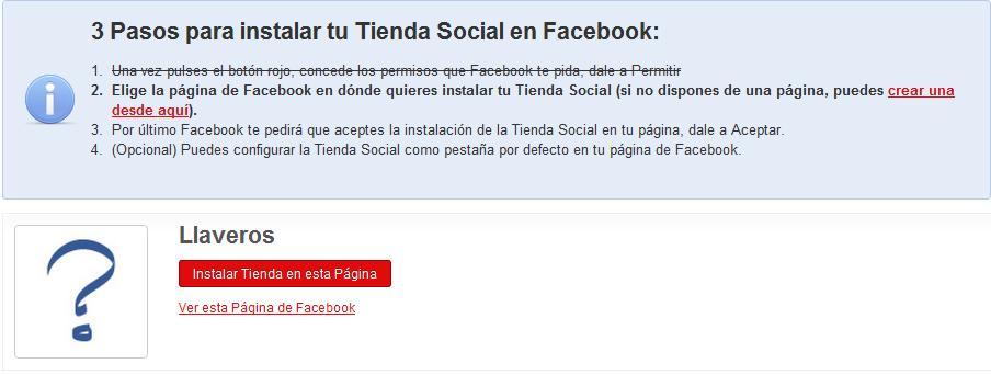 Paso 3: Tienda social en Facebook