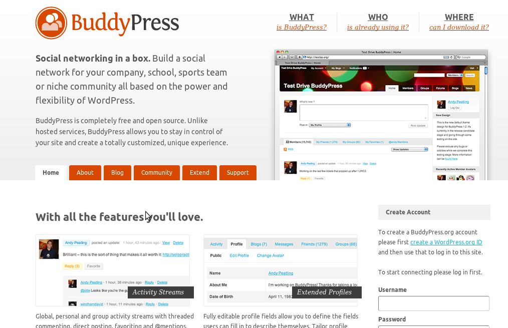 Plataformas Open Source, BuddyPress
