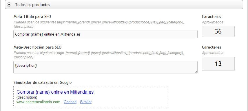 Configuración SEO on-page de los productos