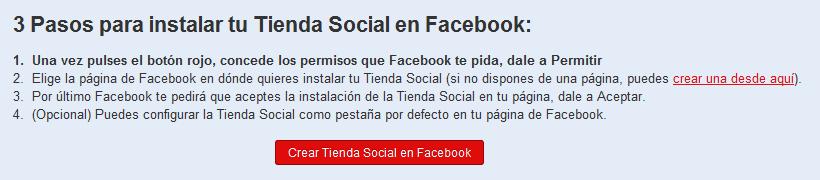 Paso 2: tienda social en Facebook
